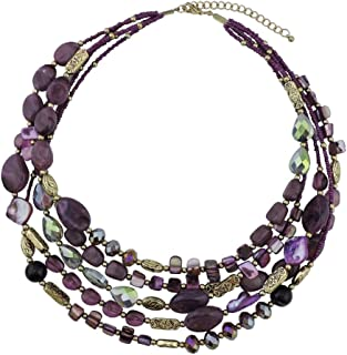 Multi Layer 5 Strand Statement Collar Beaded Necklace for Women Gift