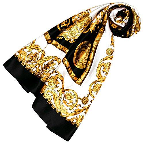 Lorenzo Cana Luxus Damenseidentuch Tuch 100% Seide schwarz gold weiss Barockmuster 100 cm x 100 cm Damentuch Halstuch 890016601