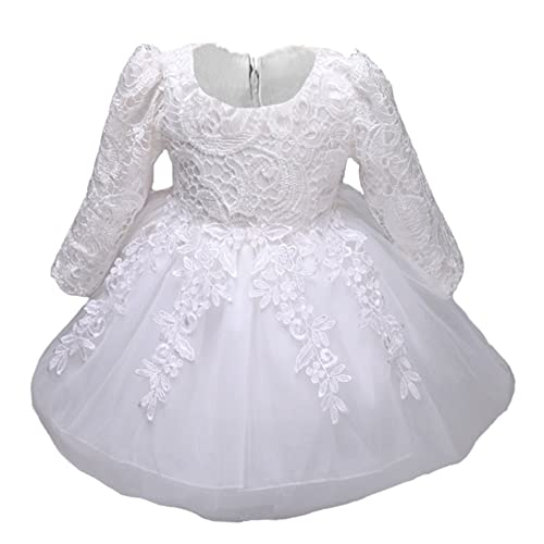bf3f8aa13 Myosotis510 Girls' Lace Princess Wedding Baptism Dress Long Sleeve Formal Party  Wear for Toddler Baby