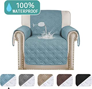 Turquoize Waterproof Chair Covers Pet Furniture Covers for Living Room Non Slip Waterproof Recliner Chair Cover Luxurious Quilted Sofa Cover for Small Recliner Chair Cover Stone Blue (Chair 75