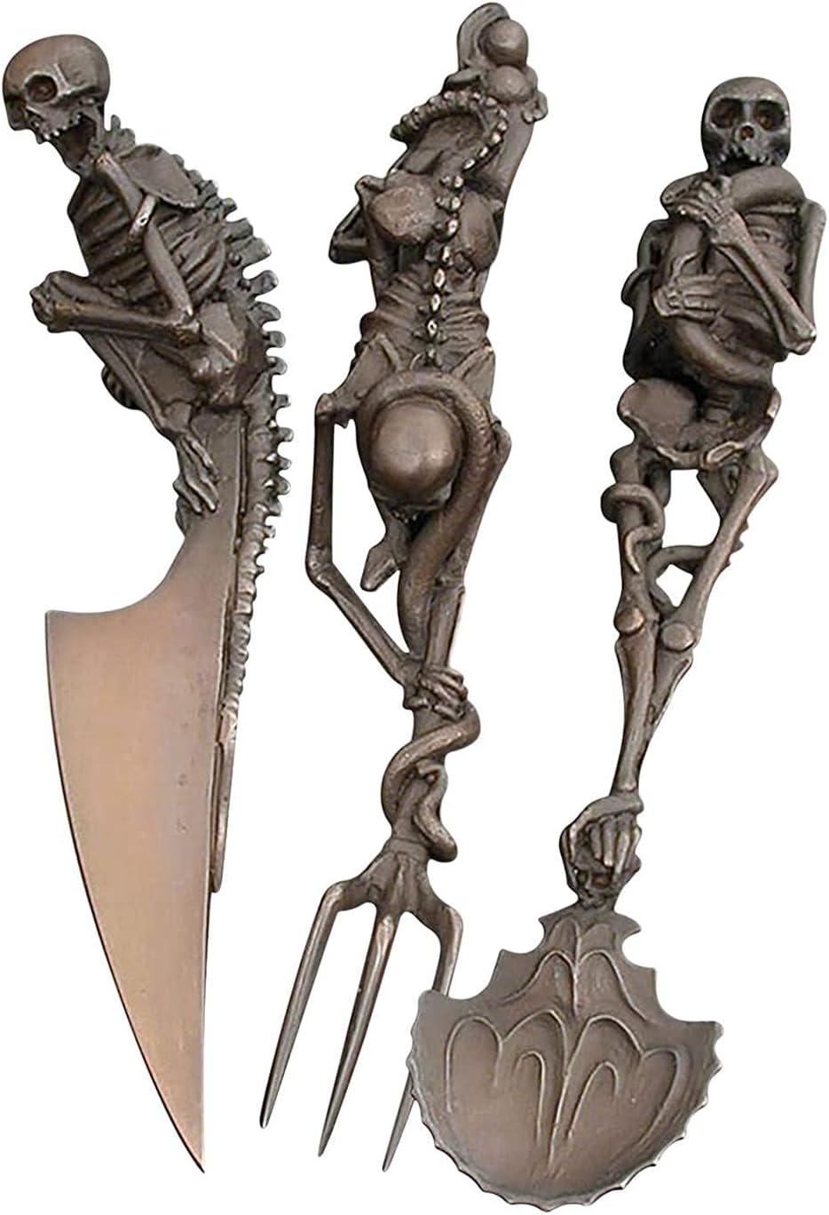 gormyel Juego de Cubiertos de Esqueleto de Halloween de 3 Piezas, vajilla de Metal de Calavera con Personalidad, Cubiertos de Halloween, Tenedor/Cuchara/Cuchillo de Esqueleto único