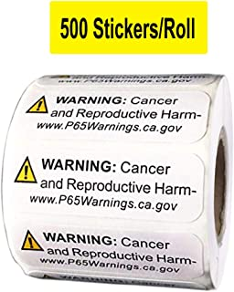 California Proposition 65 Warning Labels 500/Roll - California Cancer and Reproductive Harm Sign Labels - 1/2 X 3/2 Inch CA Notice Stickers for Cancer and Birth Defects (Yellow, 1/2 X 3/2 Inch)