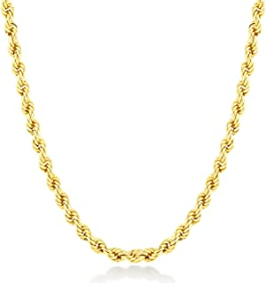 14k Real Gold 2.0 mm Rope Chain for Women and Men, Fine Jewellery Birthday Gift for Her/Him, 18 inch