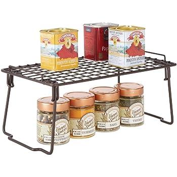 mDesign Estante apilable para almacenaje de cocina – Repisa metálica de cocina con patas plegables – Moderno organizador de armarios para la vajilla, latas de conservas y especias – color bronce: Amazon.es: Hogar