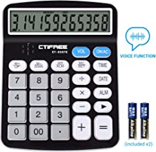Voice Calculator, Everplus Electronic Desktop Calculator with 12 Digit Large Display, LCD Display Office Calculator,Black (Voice Black)