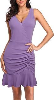 Lotusmile Women's V Neck Sleeveless Tank Bodycon Dress 2020 Ruched Mini Dresses Summer