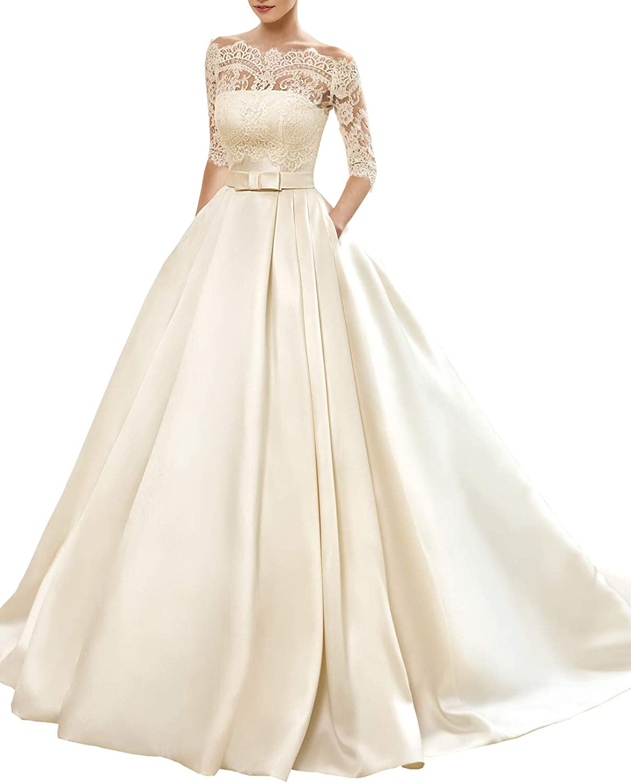 Changjie Women's Bateau 3 4 Sleeve Lace Tulle Wedding Dresses for Bride Aline