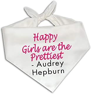Happy Girls Are Prettiest Audrey Hepburn Quote - Dog Bandana One Size Fits Most