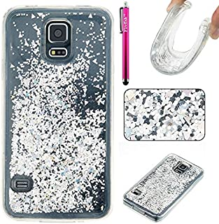 Galaxy S5 Case, Firefish Slim Glitter Soft TPU Rubber Silicone Case Impact Resistant Protective Back Cover Attractive Case for Samsung Galaxy S5 -Silver