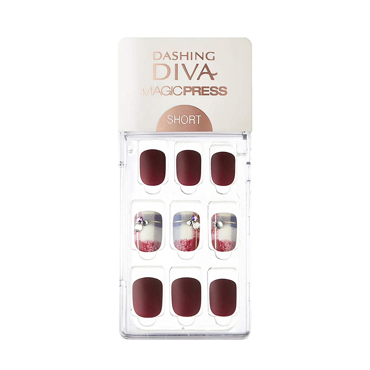 添付オーナー盲信ダッシングディバ マジックプレス DASHING DIVA MagicPress MDR227SS-DURY+ オリジナルジェル ネイルチップ Vintage Burgundy