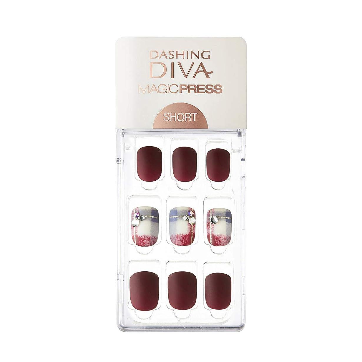 可聴ハシー食用ダッシングディバ マジックプレス DASHING DIVA MagicPress MDR227SS-DURY+ オリジナルジェル ネイルチップ Vintage Burgundy