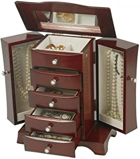 Ladies Upright Wooden Jewelry Box. Mahogany Finish Jewel Storage Case w/Hour Glass Shape Styling