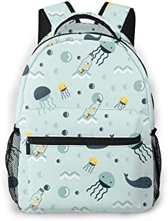 Koood Casual Backpack Aquarius with The Flow Bottle Fashion School Bag Travel Durable Large Space Lightweight Daypack Black