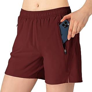 TBMPOY Women's Running Shorts with Liner Lightweight Workout Gym Sportswear Zipper Pockets