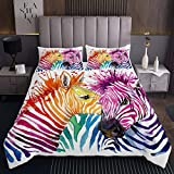 Zebra Wohndecke Aquarell Pferdedruck Tagesdecke 90x200cm für Kinder Jungen Mädchen Tier Thema Bettüberwurf 3D Zebra Steppdecke Bunte Streifen 2St