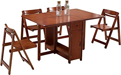 Amazon Com Lyqz 51 2 Length No Assembly Folding Dining Table And Chairs Set Wooden Rectangular Retractable Dining Table For Small Spaces Table Chair Sets