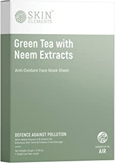 Skin Elements Face Mask Sheet With Green Tea & Neem Extracts (Pack Of 4 + 2 Extra) - Defense Against Pollution, 20 g (Pack...