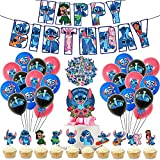Lilo and Stitch Party Decorations, Birthday Party Supplies Include Happy Birthday Banner, Stitch Balloons, Stitch Cupcake Topper, Cake Topper and Stickers, Stitch Theme Party Favors for Kids, Teens