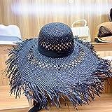 Sombrero De Sol Para Mujer,Sombrero De Sol Negro De Rafia Big Brim Hollow Out Ribbon Sombrero De Playa De Verano Elegante Disquete Sombrero De Paja Fedora Protección Uv Gorra Derby Sun Con Flecos