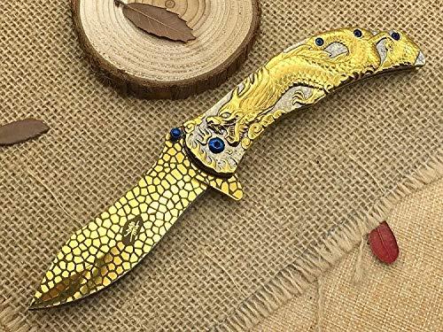 la petite caverne CB-38 Couteau Browning Or Manche Dragon Relief Lame Acier Or Motif Serpent