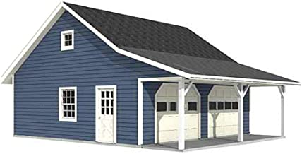 Garage Plans : Roomy 2 Car Garage Plan with 6 ft. Front Porch - 676-FP - 26' x 26' + 6' FP - Two car - by Behm Design