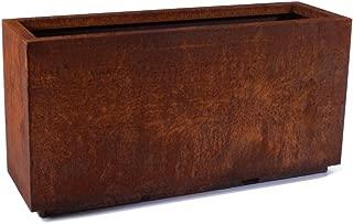 Veradek Metallic Series Corten Steel Medium Long Box Planter, 17-Inch Height by 11-Inch Width by 33-Inch Length, Rust