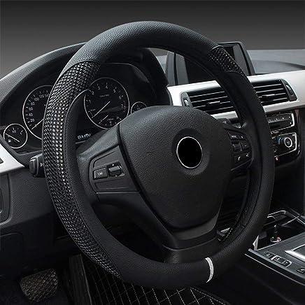Carmery Lederauto-Lenkrad-Abdeckung Lether D Form anwendbar f/ür Kia Sportage Optima K5 f/ür Nissan Qashqai J11 X-Spur T32 2015 2016 2017 2018 38 cm 15 Zoll Wei/ß Schwarz Rot Orange