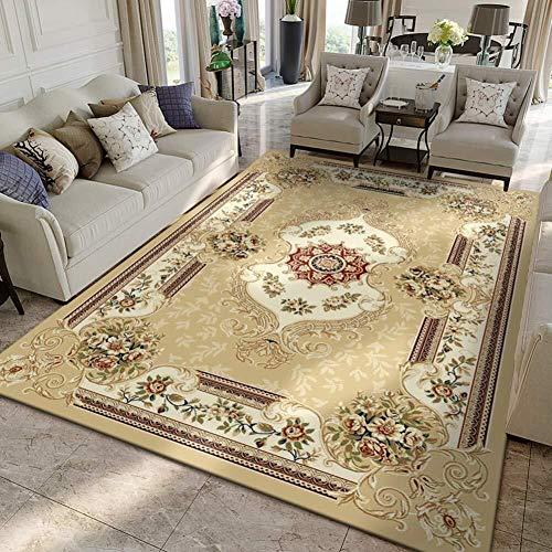 LY Hmoe Teppich Traditionelle Weinlese-Vorleger verdicken for Wohnzimmer Schlafzimmer Teppich Couchtisch Decke Eindickung Home-Matte Vorleger (Farbe : Light Tane, Größe : 130x190cm(51x75inch))