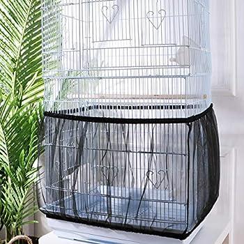 UEETEK Housse pour Cage Oiseaux Maille Couverture Protection Cage Oiseaux Perruches Canaris Attrape Graine Noir Taille L