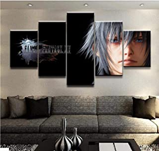 FEISENWLH Five Panel pantings Modern Wall Art Painting 5 Panel Final XV Fantasy Game Poster Home Decor Living Room Canvas Print Picture Artwork