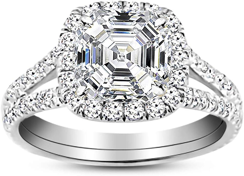 14K White Gold 2.5 Carat Raleigh Mall LAB Split S GROWN High material IGI CERTIFIED DIAMOND