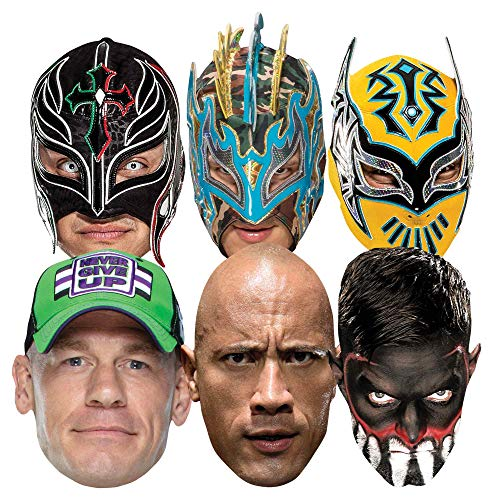 Star Cutouts Ltd-SMP421 Mascarillas para Luchador (Incluye sin Cara Kalisto Rey Mysterio Finn Balor John Cena The Rock, Color wwe multipack (SMP421)