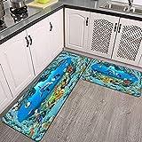 2 Piezas Alfombrillas de Cocina,Fondo de diseño de ilustración de Acuario de Peces Abstractos Antideslizante Alfombra para Puerta de Baño Juego de alfombras Cocina Lavables