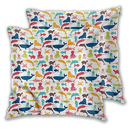 Mannwarehouse Aquarium Throw Pillow, Narwhal Octopus in Ocean Soft Soild Decorative Modern Design Fashion Patterns for Couch/Bed/Sofa 2PCS - W22 x L22 inch
