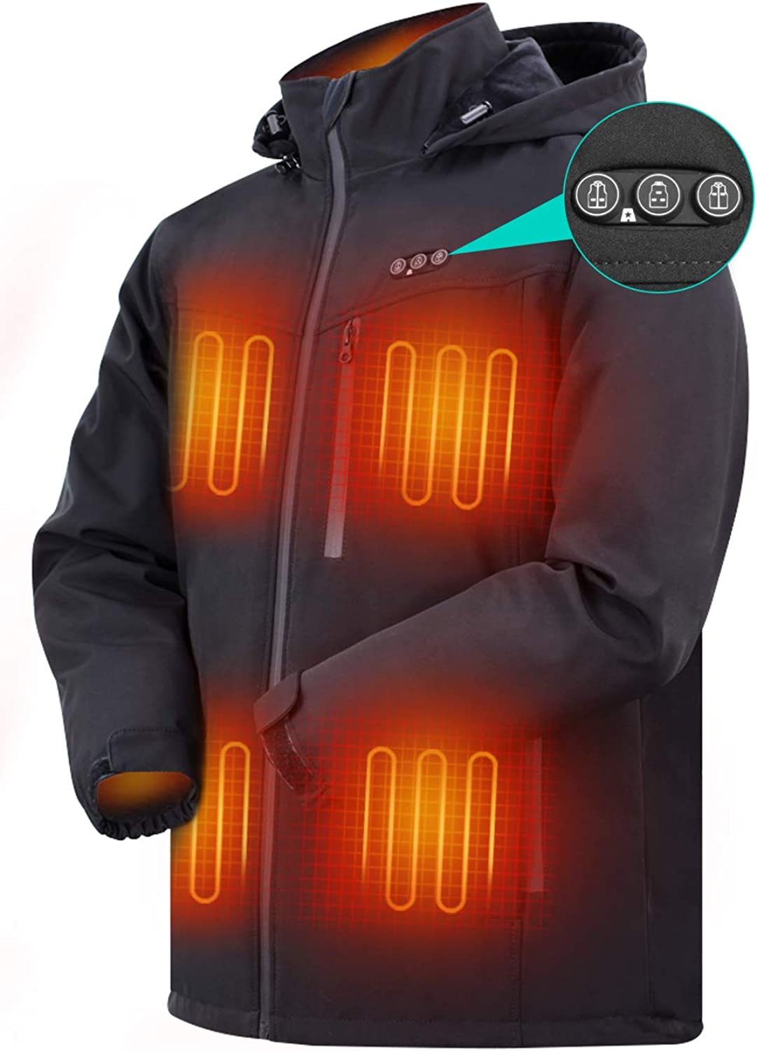 ARRIS Heated Jacket for Men, Electric Warm Heating Coat with 7.4V Rechargable Battery/8 Heating Areas/Phone Charging Black …