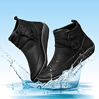 ⭐ Futurelove ⭐ 2019 New Women's Arch Support Boots with Side Zipper Vintage Leather Ankle Boots Comfortable Damping Shoes Flat Heel Booties Retro Black Boots Waterproof Shoes