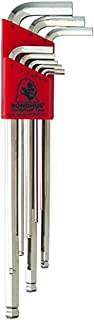 Bondhus 17099 Set of 9 Balldriver L-wrenches with BriteGuard Finish, Extra Long Length, sizes 1.5-10mm