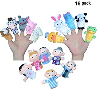 Sawaruita Finger Puppets for Children, Velvet Cute Animal and Family Style, Shows, Playtime, Schools Dolls Props Toys - 16 Different Set