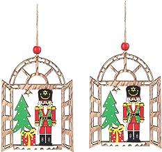 2 Pcs Wooden Christmas Tree Humanoid Pendants Scene Decoration Ornament Hanging Decor Xmas Baubles