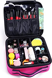 Docolor Travel Makeup Bag,Double Layer Portable Cosmetic Bag with Adjustable Dividers,Waterproof Makeup Case for Makeup Br...