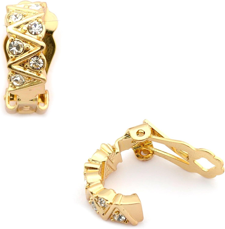 Topwholesalejewel Gold Plating 15mm Rectanbel Curve Clip On Earrings
