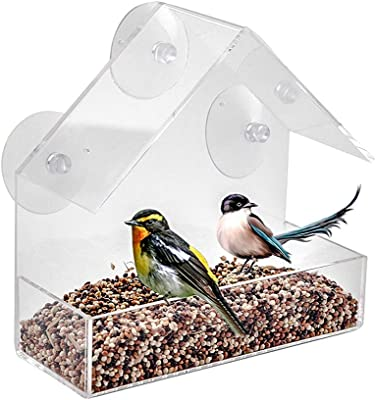 LANSCOERY Clear Acrylic Window Bird Feeder with Suction Cups, High Seed Capacity for Outdoors Wild Birds, Finch, Cardinal and Bluebird