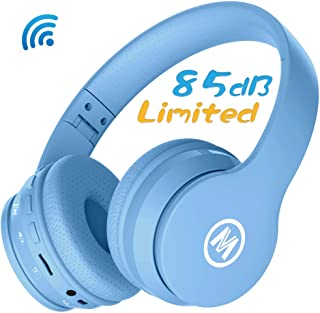 Mokata Volume Limited 85dB Kids Headphone Bluetooth Wireless Over Ear Foldable Stereo Sound Noise Protection Headset with AUX 3.5mm Cord Microphone for Boys Girls Cellphone Pad TV PC Notebook Blue