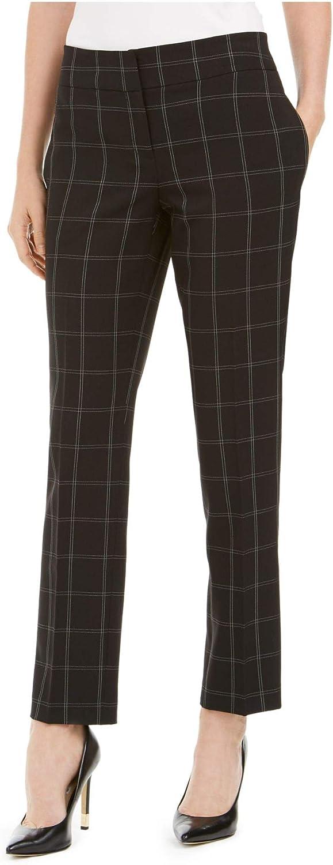 Kasper Womens Black Plaid Wear to Work Pants Size 6P