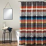 "Lush Decor Bohemian 72 ' X 1 Shower Curtain Fabric Bathroom-Colorful Geometric and Floral Design, 72"" x 72"", Turquoise and Orange"