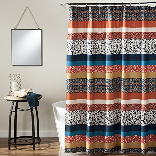 """Lush Decor Bohemian Striped Shower Curtain Fabric Bathroom - Colorful Geometric and Floral Design, 72"""" x 72"""", Turquoise and Orange"""