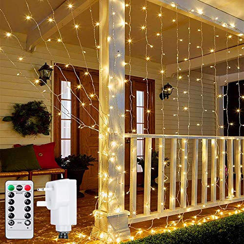 Ollny Curtain Lights Mains Powered, 3m x 3m 300 LED Christmas Fairy String Lights with 8 Modes Remote Control for Indoor Outdoor Xmas Gazebo Window Wedding Bedroom Party Decorations
