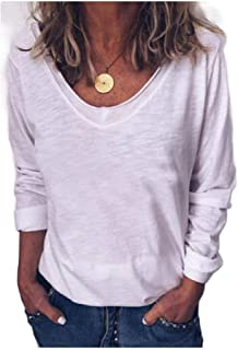 Mogogo Womens V Neck Relaxed Sexy Casual Leisure Long-Sleeve T-Shirt