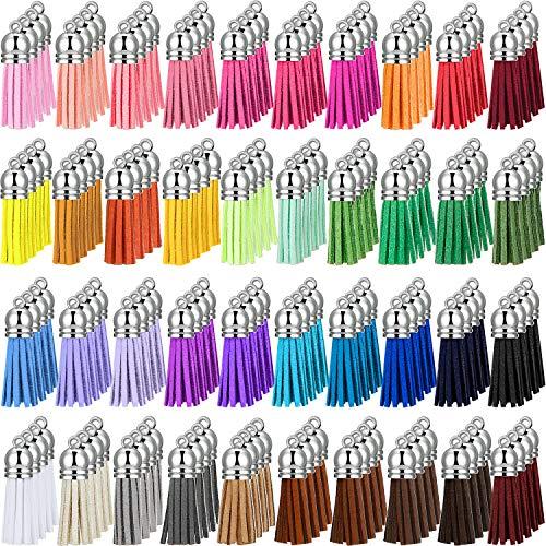 200 Pieces Keychain Tassels Leather Keychain Tassel Pendants Rings Bulk Acrylic Keychain Blanks for DIY Keychain Key Rings Craft Supplies, 40 Colors