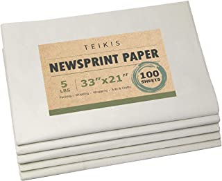 TeiKis Clean Newsprint Packing Paper Unprinted - 100 Sheets, 5 lbs, 33 x 21 inch for Moving, Packing and Storing
